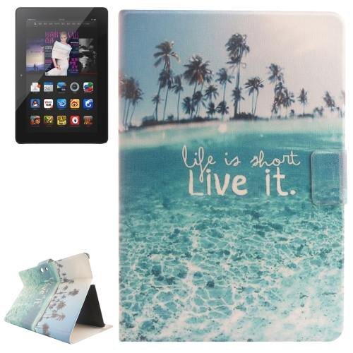 For Amazon Kindle Fire Sea Patterns Leather Case with Holder & Card Slots