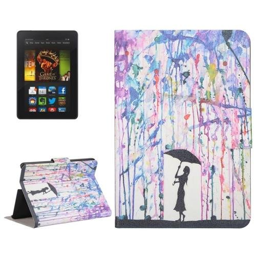 For Amazon Kindle Fire HDX 7 Rain Leather Case with Holder & Card Slots