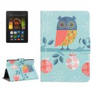 For Amazon Kindle Fire HDX 7 Owl Leather Case with Holder & Card Slots