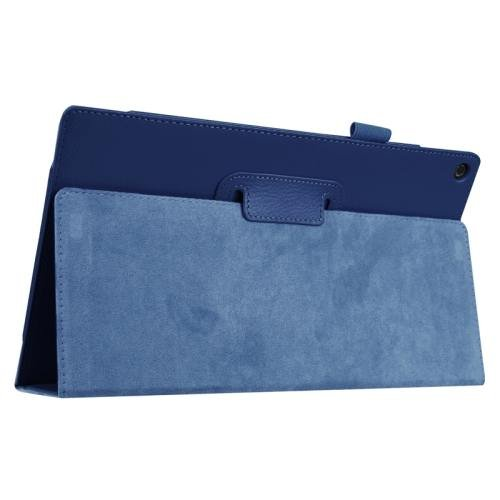 For Amazon Fire HD 10 Dark Blue Litchi Flip Leather Case with Holder