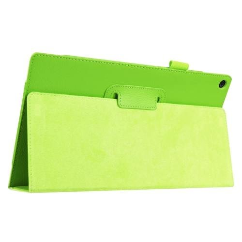 For Amazon Fire HD 10 Green Litchi Flip Leather Case with Holder
