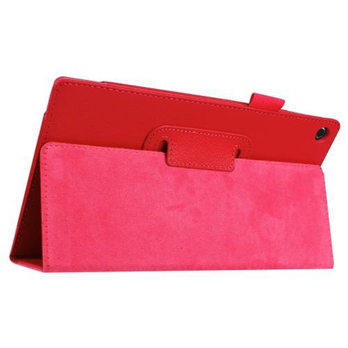 For Amazon Fire HD 8 Red Litchi Flip Leather Case with Holder
