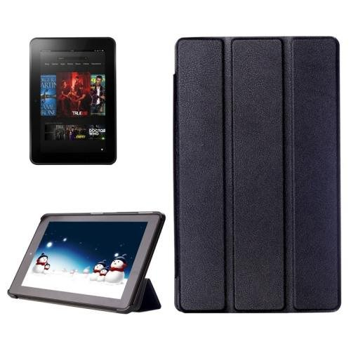 For Amazon Fire HD 10 Black Karst Flip Leather Case with 3 Fold Holder