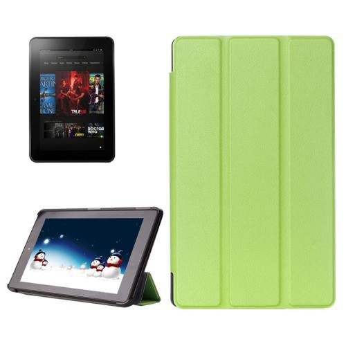 For Amazon Fire HD 10 Green Karst Flip Leather Case with 3 Fold Holder