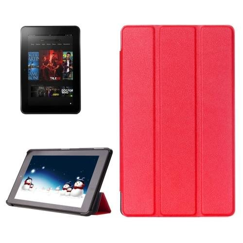 For Amazon Fire HD 10 Red Karst Flip Leather Case with 3 Fold Holder