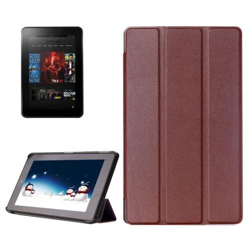 For Amazon Fire HD 10 Brown Karst Flip Leather Case with 3 Fold Holder