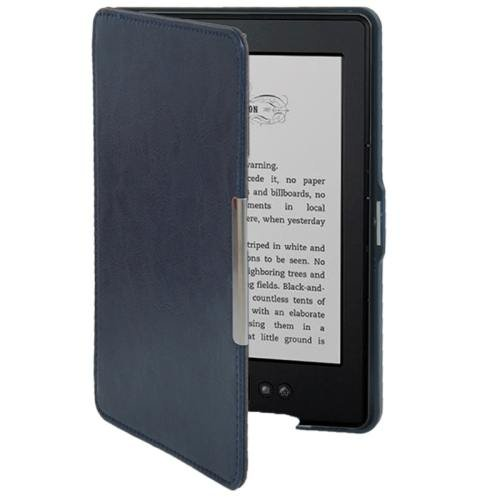 For Amazon Kindle 5 Dark Blue Crazy Horse Texture Leather Case