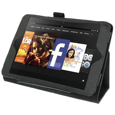 For Kindle Fire HD Black Litchi Texture Leather Case with Holder