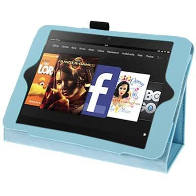 For Kindle Fire HD Baby Blue Litchi Texture Leather Case with Holder