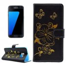 For Samsung Galaxy S7 Black Leather Case with Holder, Card slots & Wallet