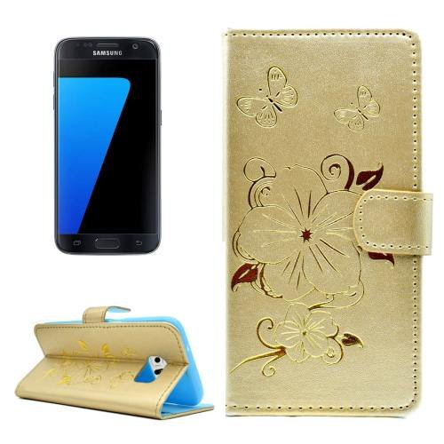 For Samsung Galaxy S7 Gold Leather Case with Holder, Card slots & Wallet