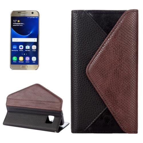 For Samsung Galaxy S7 Black Envelope Style Horizontal Flip Leather Case