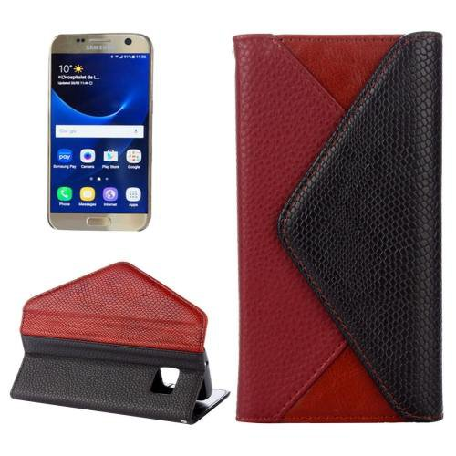 For Samsung Galaxy S7 Wine Red Envelope Style Horizontal Flip Leather Case