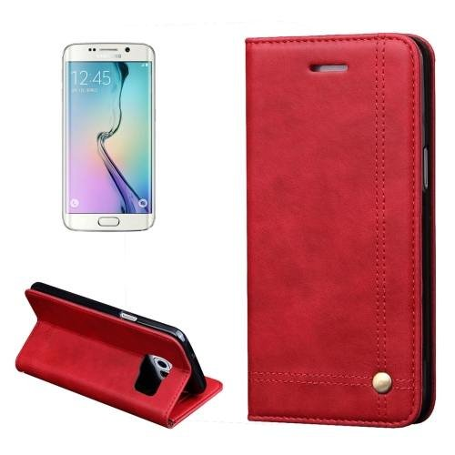 For Samsung Galaxy S7 Red Crazy Horse Leather Case with absorption