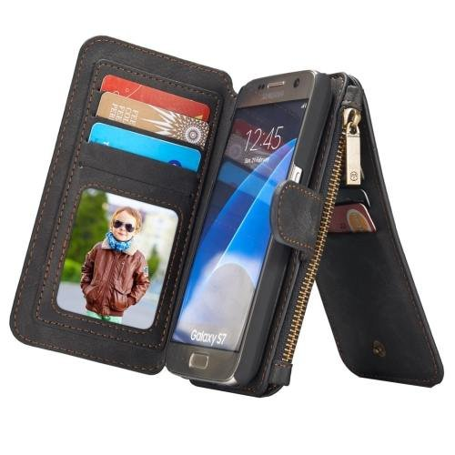 For Samsung Galaxy S7 Black CaseMe Detachable Leather Billfold Case
