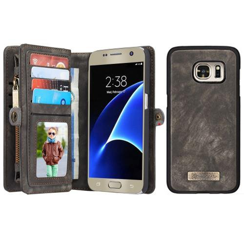 For Samsung Galaxy S7 Black CaseMe Detachable Leather Billfold Case