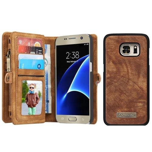 For Samsung Galaxy S7 Coffee CaseMe Detachable Leather Billfold Case