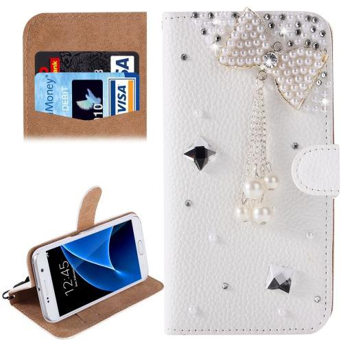 For Galaxy S7 Diamond Bowknot Pattern Leather Case with Magnetic Buckle