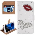 For Galaxy S7 Diamond Red Lips Pattern Leather Case with Magnetic Buckle