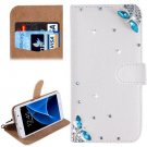 For Galaxy S7 Diamond Dragonfly Pattern Leather Case with Magnetic Buckle