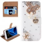 For Galaxy S7 Diamond Butterfly Pattern Leather Case with Magnetic Buckle