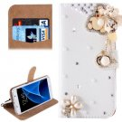 For Galaxy S7 Diamond Bear Pattern Leather Case with Magnetic Buckle