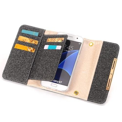 For Galaxy S7 Black Glitter 2 in 1 Wallet Style Detachable Leather Case