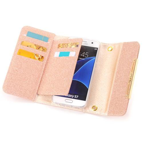 For Galaxy S7 Orange Glitter 2 in 1 Wallet Style Detachable Leather Case