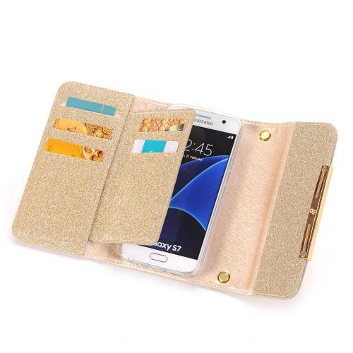 For Galaxy S7 Gold Glitter 2 in 1 Wallet Style Detachable Leather Case