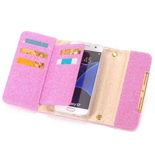 For Galaxy S7 Magenta Glitter 2 in 1 Wallet Style Detachable Leather Case
