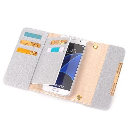 For Galaxy S7 Silver Glitter 2 in 1 Wallet Style Detachable Leather Case