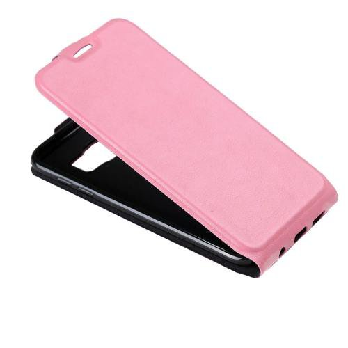 For Galaxy S7 Pink Flip Leather Case with Card Slot & Photo Frame