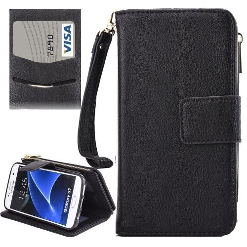 For Galaxy S7 Black Business Wallet Flip Leather Case & Photo Frame