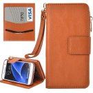 For Galaxy S7 Brown Business Wallet Flip Leather Case & Photo Frame