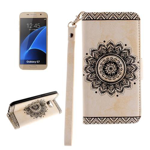 For Galaxy S7 White Embossed Floral Leather Case with Card Slots