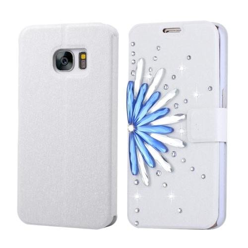 For Galaxy S7 Fevelove Diamond Flower Leather Case with Card Slots