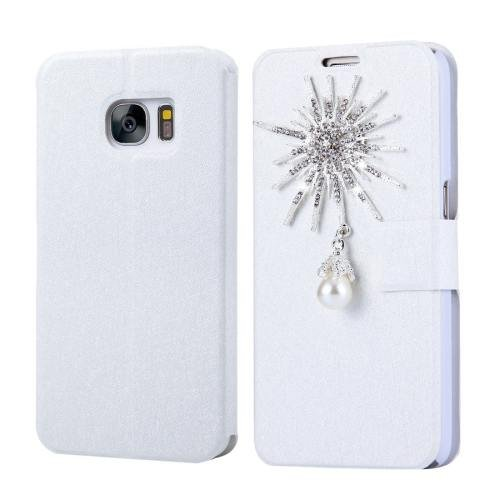 For Galaxy S7 Fevelove Diamond Sunflower Leather Case with Card Slots