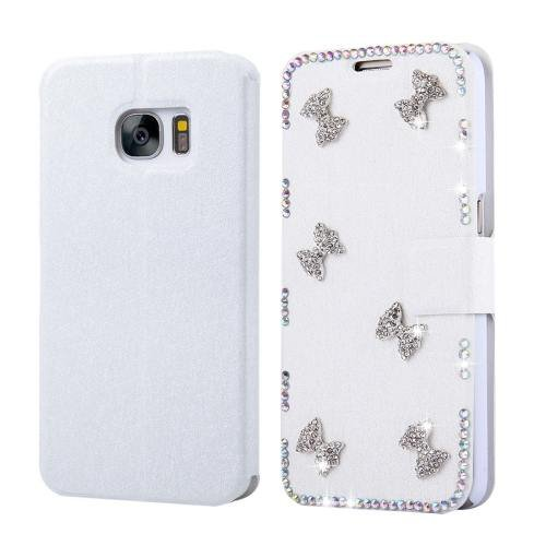 For Galaxy S7 Fevelove Diamond Bowknots Leather Case with Card Slots