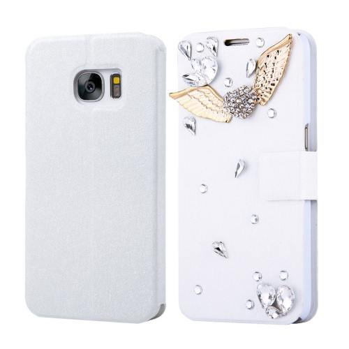 For Galaxy S7 Fevelove Diamond Wings Leather Case with Card Slots