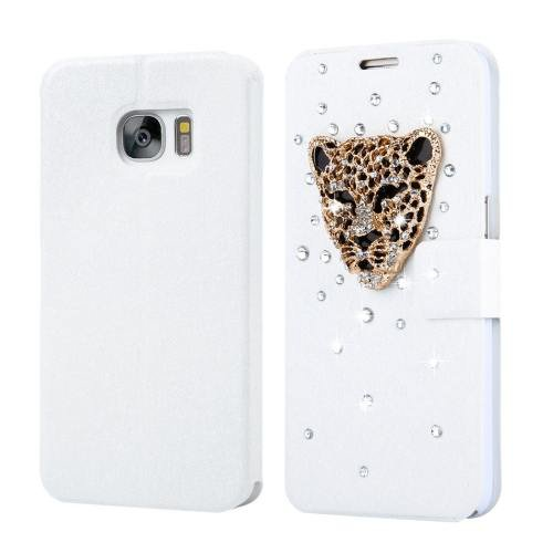 For Galaxy S7 Fevelove Diamond Leopard Leather Case with Card Slots