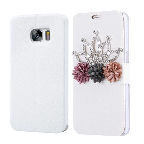 For Galaxy S7 Fevelove Diamond Crown Leather Case with Card Slots
