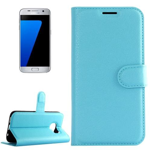 For Galaxy S7 Blue Litchi Flip Leather Case with Holder, Card Slots & Wallet