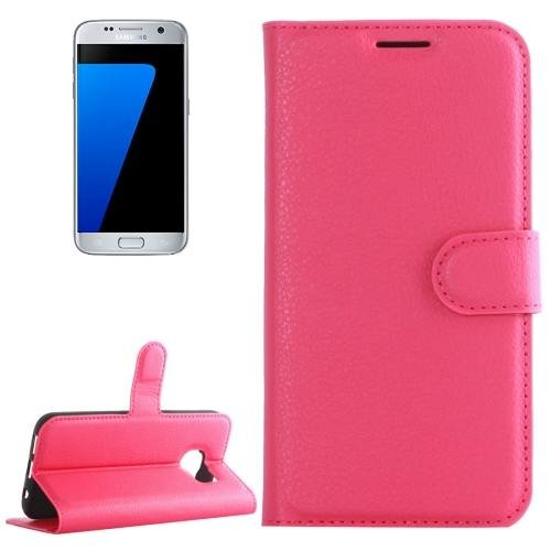 For Galaxy S7 Magenta Litchi Flip Leather Case with Holder, Card Slots & Wallet
