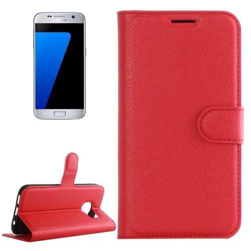 For Galaxy S7 Red Litchi Flip Leather Case with Holder, Card Slots & Wallet