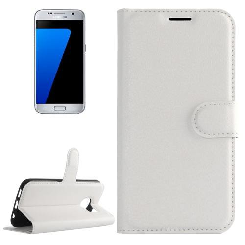 For Galaxy S7 White Litchi Flip Leather Case with Holder, Card Slots & Wallet