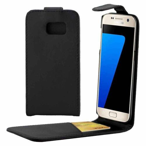 For Galaxy S7 Black Flip Waist Bag with Magnetic Buckle & Card Slot
