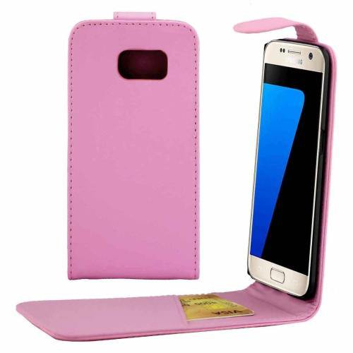 For Galaxy S7 Pink Flip Waist Bag with Magnetic Buckle & Card Slot