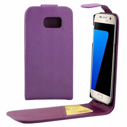 For Galaxy S7 Purple Flip Waist Bag with Magnetic Buckle & Card Slot