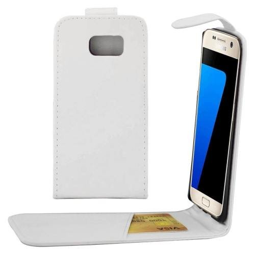 For Galaxy S7 White Flip Waist Bag with Magnetic Buckle & Card Slot