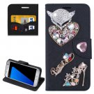 For Galaxy S7 Black Diamond Encrusted Fairy Fox Hearts Leather Case